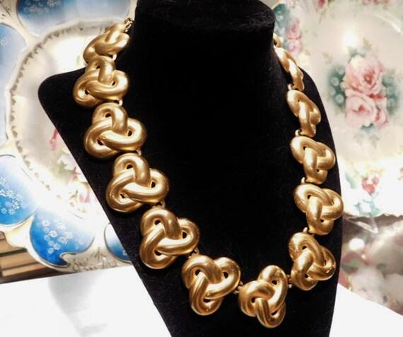 Anne Klein Necklace Vintage New York Fashion Designer Runway Couture Statement Necklace Lion Head Tag Matte Satin Finish Gold Tone Knot