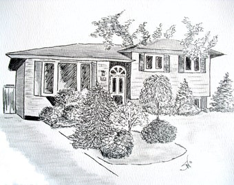 Thank you gift from Realtor, ink sketch of your home, thank you gift