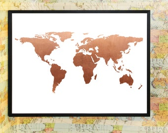 Copper world map atlas poster typography print art home