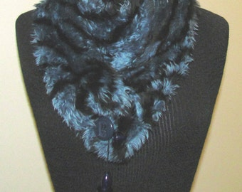Black and Blue Fun Fur Scarf with Toggle Buttons