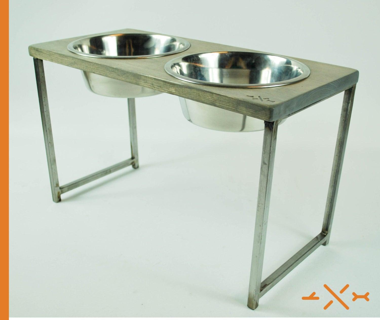 Rustic Dog Dish Dog bowl Stand Elevated dog dish Pet - photo#7