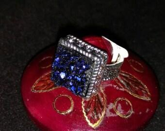 Dark Blue Druzy Ring Size 6