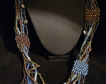 Grey, Bronze and Blue Seed Bead Necklace