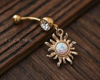 belly ring belly button ring belly button jewelry dangle sun charm fire opal boho bohemian jewelry