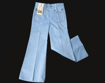 70's Blue  Light Denim Flare Trousers Stock Sizes 8-10Y and 10Y+