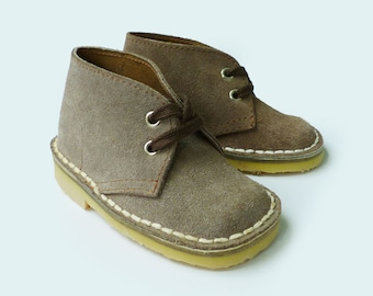 70s Suede Leather Toddler Desert Boots Made in France EU 23