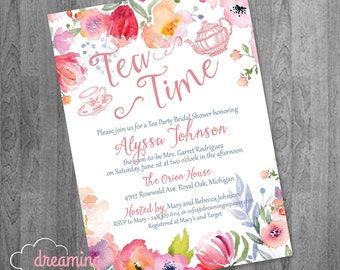 Tea Time Tea Party Bridal or Baby Shower or Birthday Invitation
