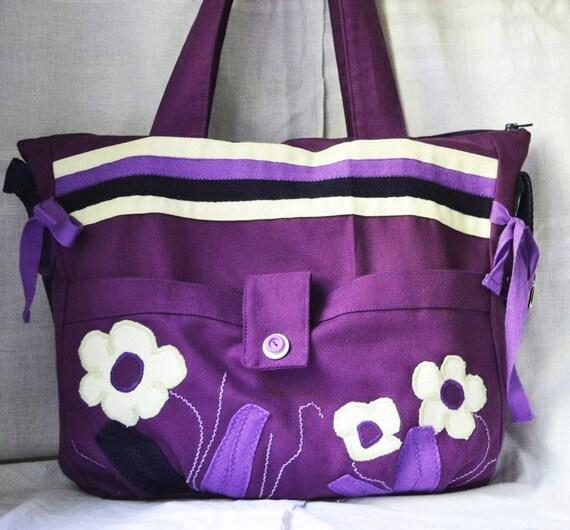 purple diaper bag fabric overnight bag by purpleflowerpurses. Black Bedroom Furniture Sets. Home Design Ideas