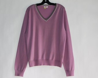 Vintage Men's Light Purple V-Neck Sweater - Made in Italy - Size (XXL)