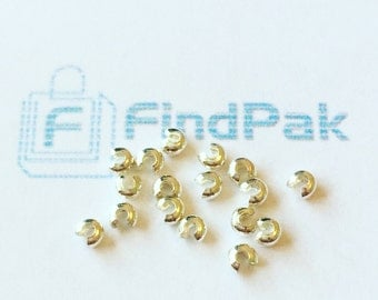 100 Pcs 3 mm Crimp Covers Silver Tone BULK Crimp Beads | 0013