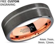 GUNMETAL Black Tungsten Ring Rose Gold Wedding Band Ring Tungsten Carbide 7mm 18K Tungsten Man Wedding Band Male Women Anniversary Matching