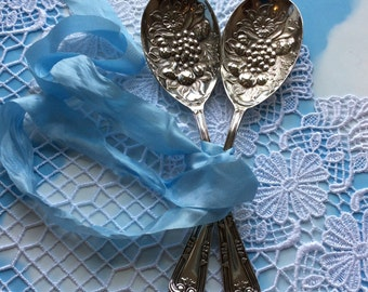 Pair of Heavily Embossed Silver Plated Serving / Table Spoons