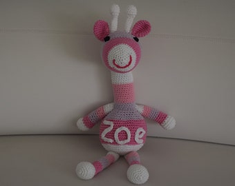 Crochet giraffe toy withe embroidered name