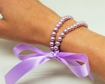 Orchid Pearl Bracelets & Lilac Bow