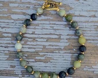 Jasper bracelet, Beaded jungle jasper bracelet, Green jasper bracelet, Genuine jasper bracelet, Jasper jewelry, Dark green bracelet.