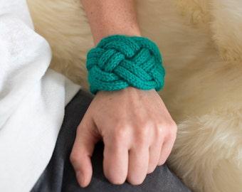 Green knit Cuff Bracelet