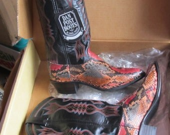 Painted Snake Foot Leather Shaft Women 8M Cowgirl Dan Post Vintage