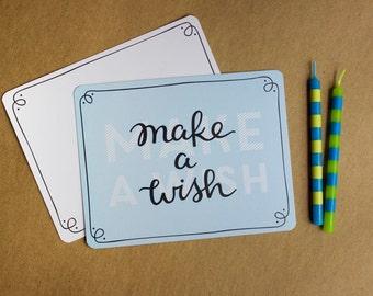 Make a Wish Flat Greeting Card | Happy Birthday, Celebration