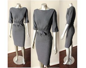 Sheath Pencil Wool Gray Beaded Belted Blouson VTG 50s 60s Mod Dress Sz M