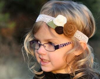 Felt Flower Headband, Lace Headband, Toddler Headband, Infant Headband, Newborn Headband, Baby Headband, Felt Flower, Photo Prop