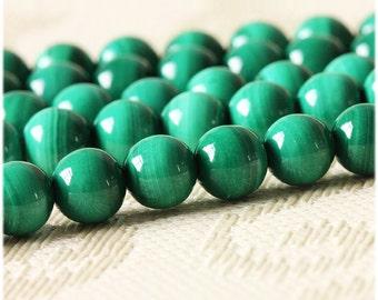 Natural Green Malachite Beads, 6 8 10 12mm Round Green Malachite Gemstone Beads for DIY Jewelry Making