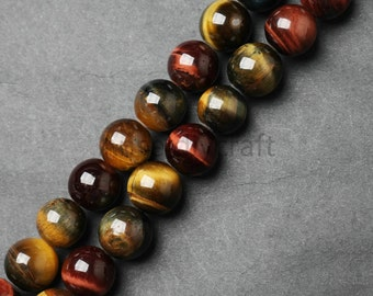 B172 Natural Three Colors Tiger Eye Beads Supplies, Full Strand 6 8 10 12mm Round Tiger Eye Gemstone Beads for DIY Jewelry Making