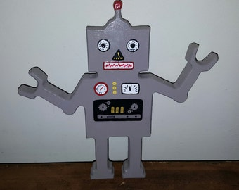 Hand Painted Wooden Robot