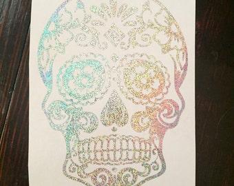 Sugar Skull Decal | Window Decal | Sugar Skull Sticker | Ornate Skull