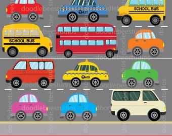 Transportation Clipart, Vehicles Clip Art, Road Vehicles Clipart, Cars Clip Art, Bus, School Bus, Yellow Taxi Cab, New York Taxi Cab, Van