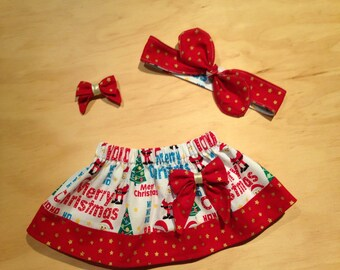 Christmas skirt with bow and top knot - little girls skirt - twirly skirt - baby girls skirt - puffy christmas skirt