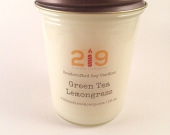 Green Tea and LemonGrass - soy candles handmade - aromatherapy candle - essential oil candles - gift idea - 8 oz. jelly jar