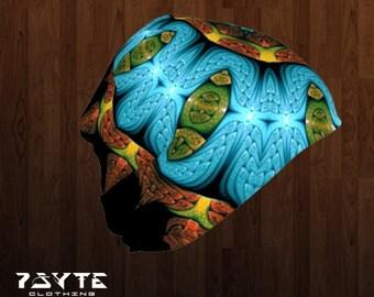 Beanie - Psychedelic Beanie - Black and blue beanie - Festival hat - Doof beanie - Bamboo beanie - Psy hat - fractal mandala