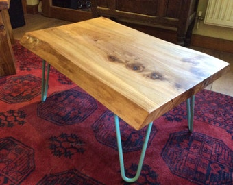 Elm coffee table with hair pin legs