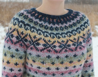 Colorful knit sweater made of pure, unspun icelandic wool.