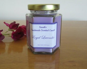 Royal Lavender Scented Candle - large and small, relaxing candle, purple candle, long lasting candle