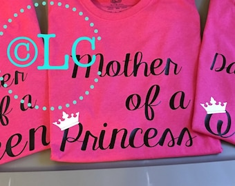 Mother of a Prince/Princess/son/daughter shirt set