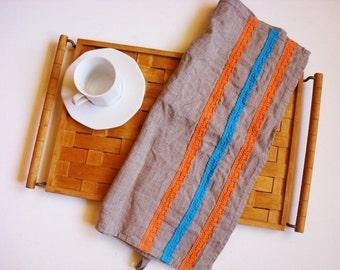 Linen kitchen towels with lace trim tea towel dish towels hand towel by Luxoteks