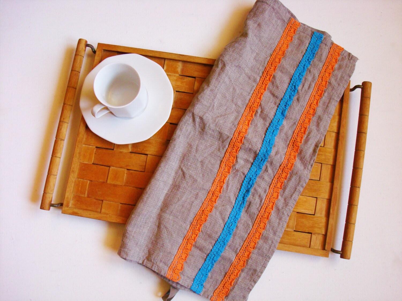 linen kitchen towels with lace trim tea towel dish towels hand. Black Bedroom Furniture Sets. Home Design Ideas