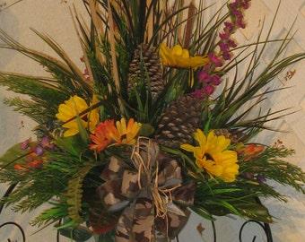 Rustic Silk Cemetery Arrangement - Cemetery Vase - Memorial Flowers - Grave Flowers - Woodsy Grave Decoration - Permanent  Cemetery Cone