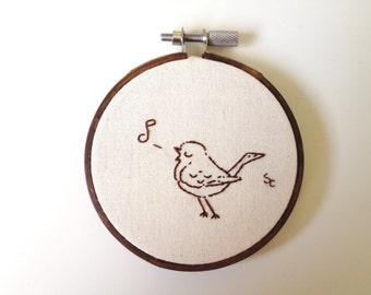 Bird, embroidery, song bird, singing bird, home decor