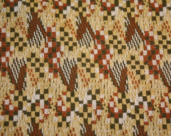 1970's geometric polyester fabric rust, greens, yellows almost 2 yards 60x51 inches