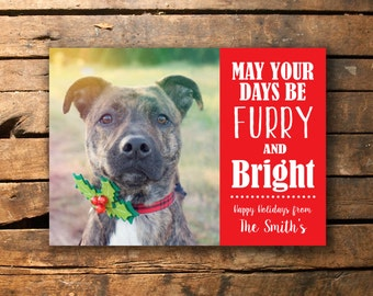 Furry and Bright Christmas Photo Card - Pets - Digital File - 5x7""