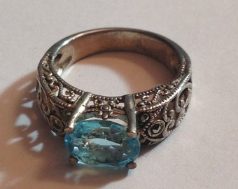 Sterling silver ring size 7 1/4 with beautiful blue stone