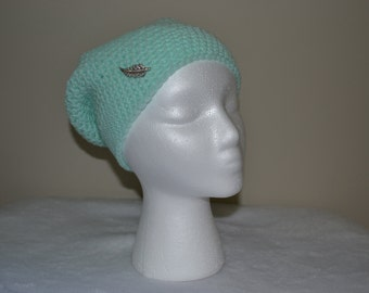 Women's Crocheted Mint Green Slouch Beanie