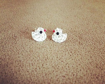 Sterling silver baby chick earrings with CZ crystals for a baby or a girl