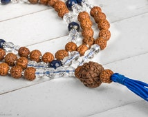 Rudraksha Crystal Lapis Tassel Mala Necklace 10 mm - 108 Mala Beads, Yoga Mala, Meditation Necklace, Buddhist 108 Prayer Beads