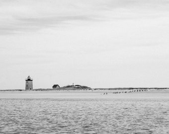 Provincetown, Massachusetts, Lighthouse, Cape Cod, Ocean, Harbor, Black and White, Photography, Print