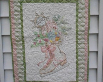 Handmade Embroidered Vintage Christmas Wall Hanging, Quilted