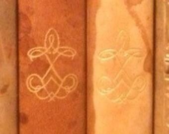 1935 - Count of Monte Cristo - Alexander Dumas and Tess - Thomas Hardy - 2 Antique Leather Books - tan