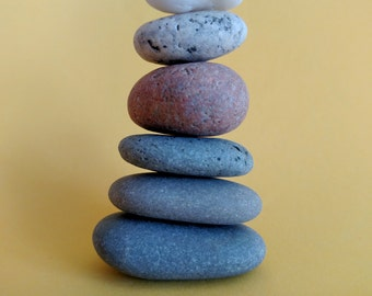 Maine Beach Stone Cairn (c67) Set of 6 Stacked Loose Undrilled Smooth Rocks - Waldorf Art Decor Zen Meditation Wiccan Pagan Classroom Desk